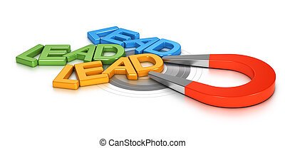 Lead Generation - Horseshoe magnet attracting new leads in a...