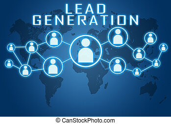 Lead Generation concept on blue background with world map...