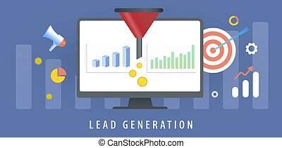 Lead Generation with sales funnel concept for generating new business leads. Target Audience to increase revenue growth and online sales optimization. Increasing conversion rates marketing strategy.