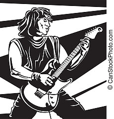 play guitar, electric guitar, rock and roll, in concert, guitar player