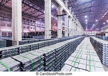 lead ingots in a factory warehouse - lead ingot is mainly...