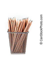 lead pencils in metal grid container isolated on white with...