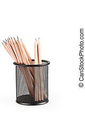 lead pencils in metal pot - lead pencils in metal grid...