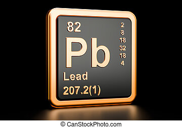 Lead plumbum Pb chemical element. 3D rendering