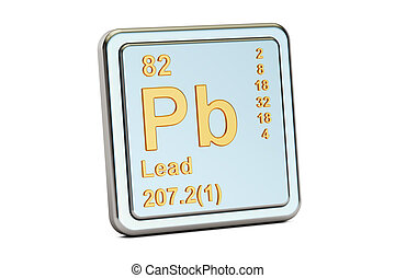 Lead plumbum Pb, chemical element sign. 3D rendering