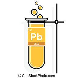 Lead symbol on label in a yellow test tube with holder. Element number 82 of the Periodic Table of the Elements - Chemistry