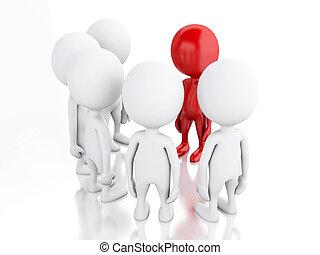 leader., 3d, グループ, 赤, 人々