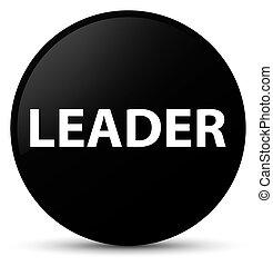 Leader black round button