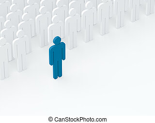 Leader came out from the crowd (leadership concept) (3D...