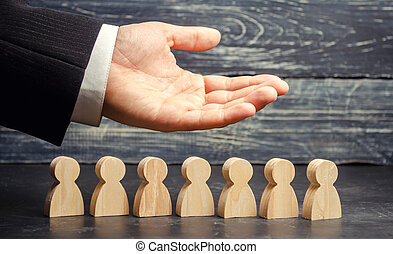Leader (CEO) represents the team. Human resources. Businessman and working staff. Care for employees. Labor union. Life insurance. Employment agencies. Marketing segmentation concepts.