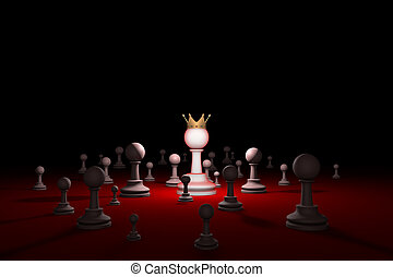 Leader (chess metaphor). 3D render illustration. Free space for text.