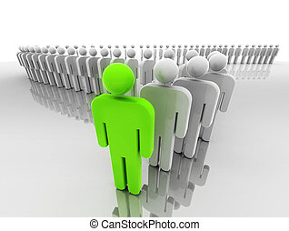 Leader - Concept of leadership represented by a line of...