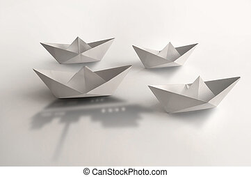 Leader concept, paper boat cruise ship shadow