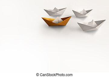 Leader concept, paper boat