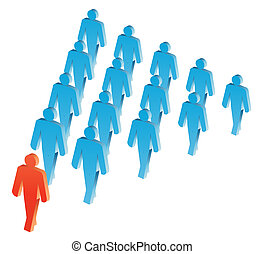 Leader - Vector group of people illustration in blue and...
