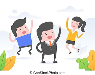 Leader energize his team. Business concept vector...