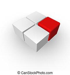 leader - four cubes on white background - 3d illustration