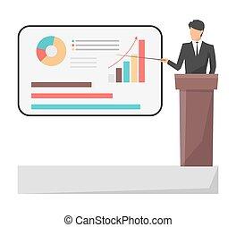Leader Giving Presentation on Vector Illustration
