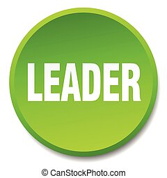 leader green round flat isolated push button
