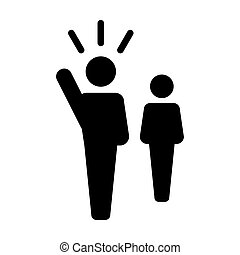 Leader Icon - Man Vector Public Speaking Person with Raised Hand in Glyph Pictogram illustration