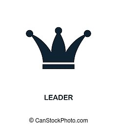 Leader icon. Monochrome style design from business icon collection. UI. Pixel perfect simple pictogram leader icon. Web design, apps, software, print usage.