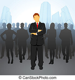 Leader - illustration of leader standing in front of ...