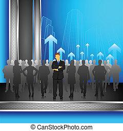 Leader in Crowd - illustration of leader standing in front...