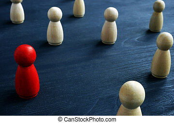 Leader in the crowd. Market segmentation concept.