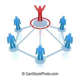 Leader is managing his work team. Network concept isolated...