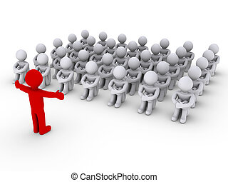 Leader is teaching people - Red 3d person in front of other ...