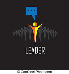 leader, leadership, winner, success - vector icons. This graphic illustration also represents executives and manager, highly motivated staff & boss, ceo & employees, leading from front