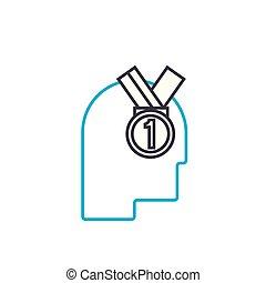 Leader linear icon concept. Leader line vector sign, symbol, illustration.