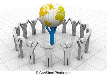 leader mondo, sollevamento, uomo affari