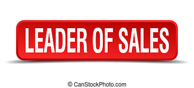 leader of sales red 3d square button isolated on white