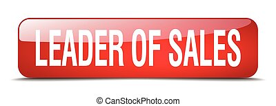 leader of sales red square 3d realistic isolated web button