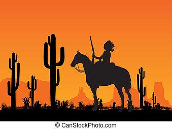 Leader of the American Indian on horseback