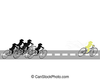 illustration of group sports-mans on bicycles