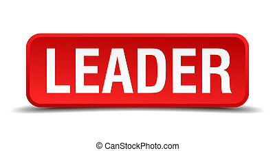 leader red 3d square button isolated on white