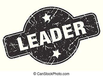 leader round grunge isolated stamp