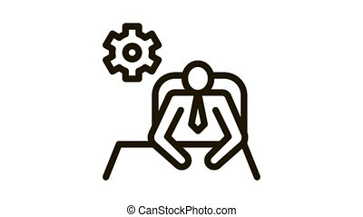 Leader Sit Gear Icon Animation. black Leader Sit Gear animated icon on white background