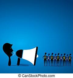 leader speak with team