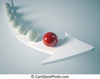 Leader sphere - Sphere team rising on arrow with the red...