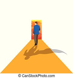 Leader stands on arrow and moves to his goal. Concept business illustration. - Vector