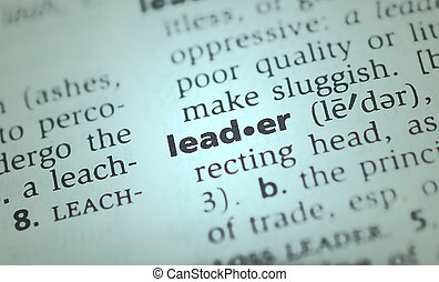 the word leader from the dictionary showing a shallow depth of field