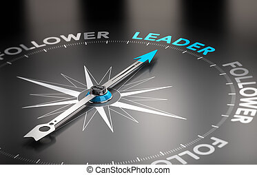 Leader vs follower concept - Word leader with a compass...