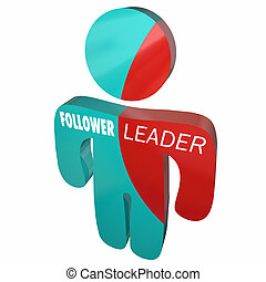 Leader Vs Follower Person Split Personality 3d Illustration