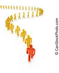 Leader walking forward