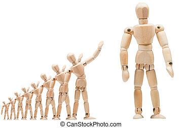 Leader wooden man business concept, leader & success