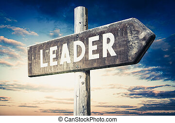 Leader - wooden signpost, roadsign with one arrow