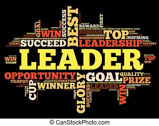 Leader word cloud, business concept